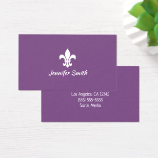 Purple and White Fleur de Lis Business Card