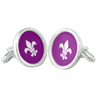 Purple and White Fleur de Lys Cufflinks