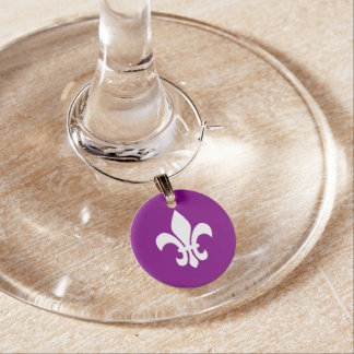 Purple and White Fleur de Lys Wine Charm