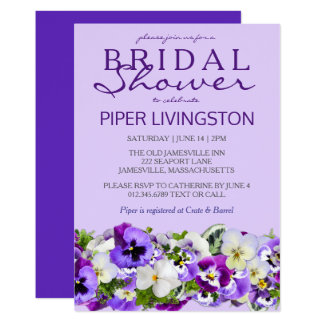 Purple and White Floral Bridal Shower Invitations