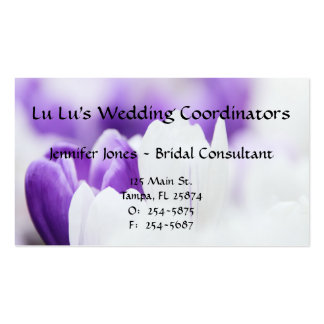 Purple and White Floral Business Card