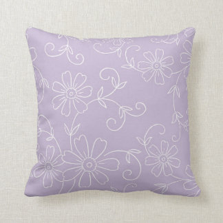 Purple and White Floral Decorative Pillow