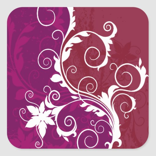 Purple and White Floral Grunge Square Stickers