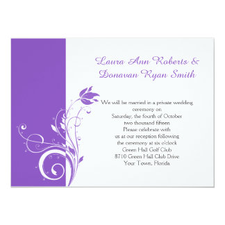 Purple and White Floral Swirls Reception Only Card