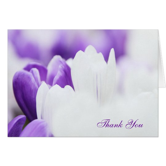 Purple and White Floral Thank You Card