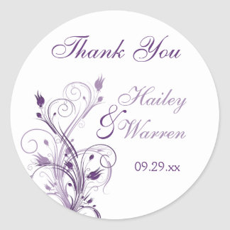 Purple and White Floral Wedding Favor Sticker