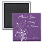 Purple and White Floral Wedding Favour Magnet