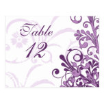 Purple and White Floral Wedding Table Cards