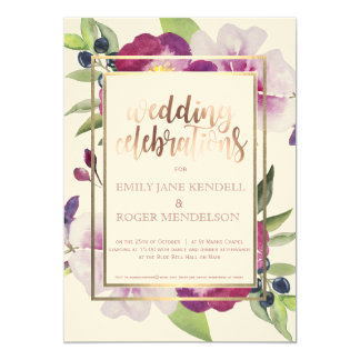 Purple and White Floral with Olive Invitation