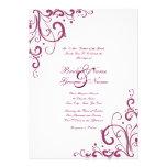 Purple and White Flourish Wedding Invitation