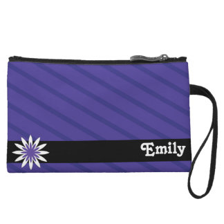 Purple and white flower monogram clutch wristlets