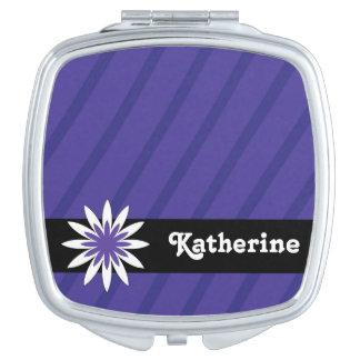 Purple and white flower monogram compact mirror