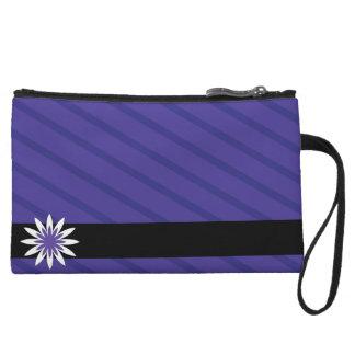 Purple and white flower stripes clutch wristlet purses