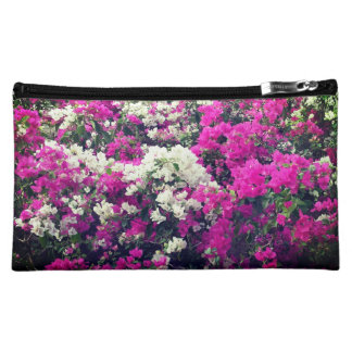 Purple and White Flowers Medium Cosmetic Bag
