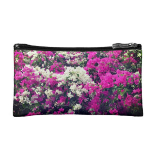 Purple and White Flowers Small Makeup Bag