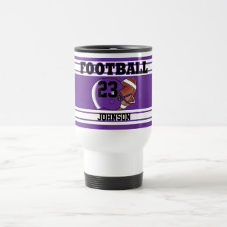 Purple and White Football Stainless Steel Travel Mug