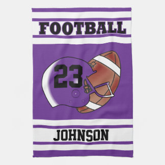 Purple and White Football Kitchen Towel