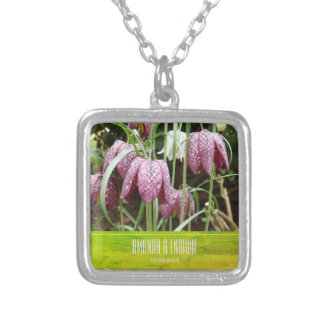 Purple and White Fritillary Flowers Silver Plated Necklace