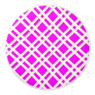 Purple and White Gingham Pattern Knobs
