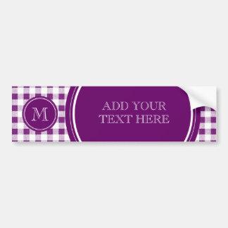 Purple and White Gingham, Your Monogram Bumper Sticker