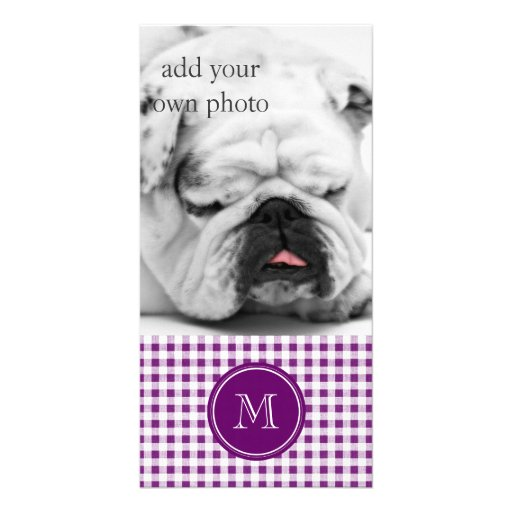 Purple and White Gingham, Your Monogram Custom Photo Card