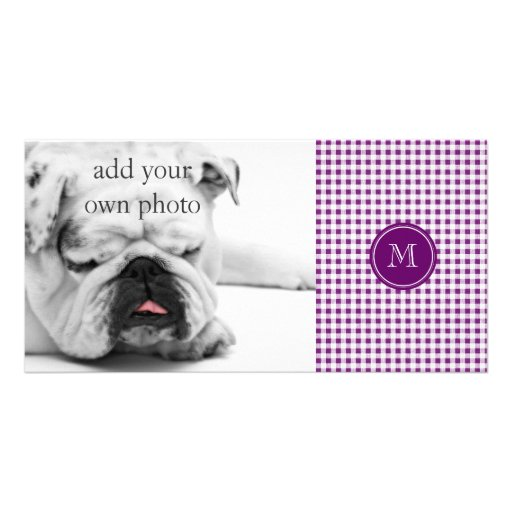 Purple and White Gingham, Your Monogram Customized Photo Card