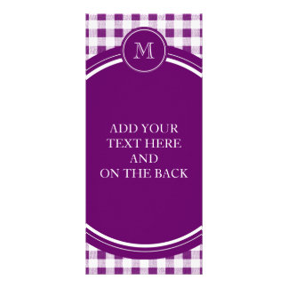 Purple and White Gingham Your Monogram Customized Rack Card