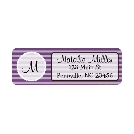 Purple and White Initial  Return Address Labels