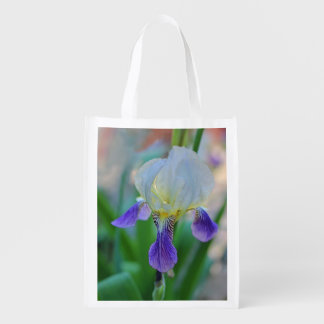 Purple and White Iris Reusable Grocery Bag