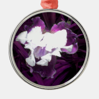 Purple and White Iris Silver-Colored Round Decoration