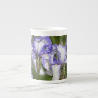 Purple and White Irises Tea Cup