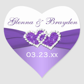 Purple and White Joined Hearts Wedding Sticker