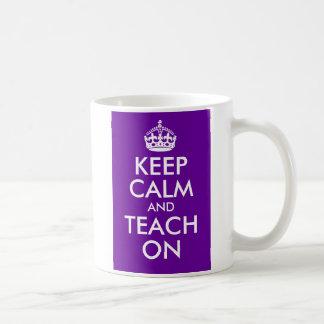 Purple and White Keep Calm and Teach On Basic White Mug