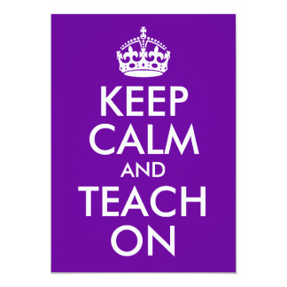 Purple and White Keep Calm and Teach On Cards