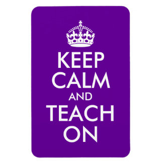 Purple and White Keep Calm and Teach On Rectangular Photo Magnet