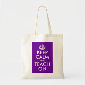 Purple and White Keep Calm and Teach On Budget Tote Bag