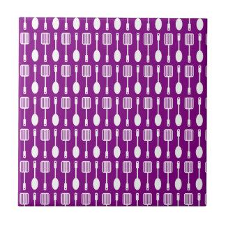 Purple and White Kitchen Cooking Utensils Pattern Ceramic Tiles