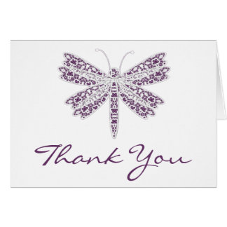 Purple  and white lace dragonfly Note Card
