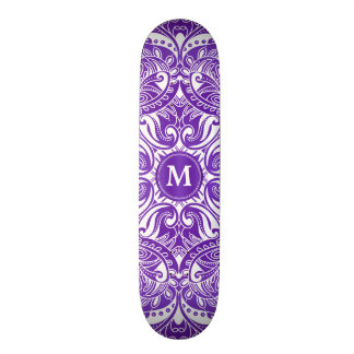 Purple and White Mandala  - Monogram Skate Board Decks
