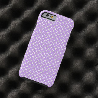 Purple and White Moroccan Floral Quatrefoil Clover Tough iPhone 6 Case