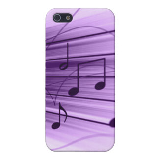 Purple and White Music Staff Notes iPhone4 Cover