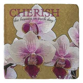 Purple and White Orchid Dry Brush Artwork Trivet
