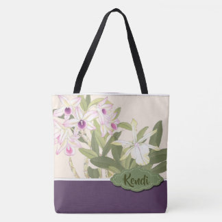 Purple and White Orchid Personalized Tote Bag