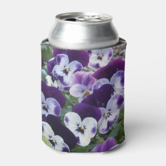 Purple And White Pansies, Can Cooler