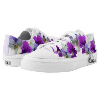 Purple and White Pansies Zipz Shoes Low Sneackers Printed Shoes