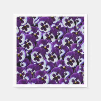 Purple And White Pansy Bouquet, Disposable Napkin
