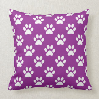 Purple and white paw prints pattern cushion