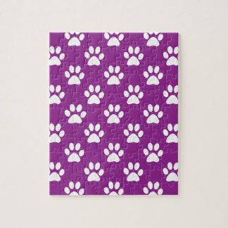 Purple and white paw prints pattern jigsaw puzzle