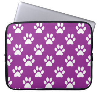 Purple and white paw prints pattern laptop sleeve