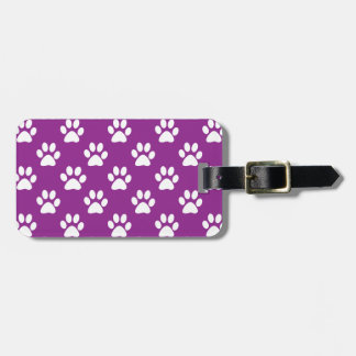 Purple and white paw prints pattern luggage tag